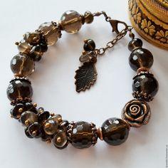 Купить Браслет из натуральных камней раухтопаза черный - браслет, Браслет ручной работы, браслет из камней