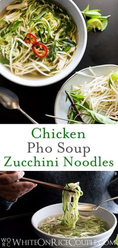 Chicken Pho Noodle Soup Recipe with Zucchini Noodles! Light, healthy and comforting. Zucchini Noodle Recipes, Healthy Vegetable Recipes, Zucchini Noodles, Zoodle Recipes, Chicken Pho Soup, Chicken Soup Recipes, Recipe Chicken, Roast Chicken, Pho Noodle Soup