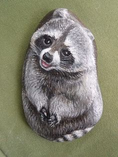 OOAK Smiling  Raccoon  Tiny Hand Painted Miniature River Rock Stone Art | Art, Direct from the Artist, Paintings | eBay!