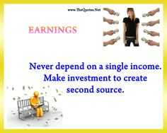 """Thought For Today: """"Never depend on single income. Make investment to make a second source. Warren Buffet Quotes, Health Snacks For Work, Excellence Quotes, Wealth Quotes, Healthcare Quotes, Theory Test, Investment Quotes, Thought For Today, Health Research"""