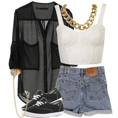 Cute Sheer Shirt Over a White Crop Top with High waisted Shorts and vans with cute jewelry