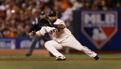 San Francisco Giants' Pablo Sandoval catches a line drive from Kansas City Royals' Lorenzo Cain in the seventh inning of Game 4 of baseball's World Series at AT&T Park in San Francisco, Calif., on Saturday, Oct. 25, 2014. (Nhat Meyer/Bay Area News Group)