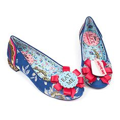 "These Which Way? Flats from Irregular Choice inspired by Disney's animated Alice in Wonderland, feature ""Eat Me"" / ""Drink Me"" rosettes on blue and gold brocade fabric. With glitter. Because glitter makes everything better."
