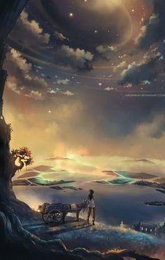 Digital Painting by Niken Anindita. Niken Anindita is a digital art artist and she is fond of digital painting. She draws from landscapes. Fantasy Landscape, Fantasy Art, Fantasy Places, Anime Scenery, Beautiful Artwork, Digital Illustration, Landscape Illustration, Amazing Art, Cool Art
