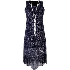 PrettyGuide Women 1920s Sequin Paisley Racer Back Tassels Hem Flapper... (105 RON) ❤ liked on Polyvore featuring dresses, gatsby dress, roaring twenties dresses, 20s flapper dress, blue cocktail dress and roaring 20s dress