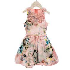 Vestido Infantil de Festa Rosa Floral Petit Cherie Adamascado com Renda e…