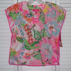 Lilly Pulitzer Target Child Size 4T Dress Shirt Swim Cover Pink Flower Fringe #LillyPulitzer #Everyday