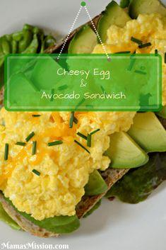 Cheesy Egg & Avocado Sandwich Pinterest