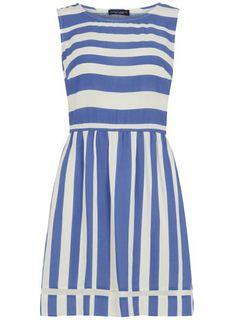 Dorothy Perkins Blue and ivory stripe dress