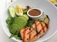 Fine Dining at The Cliff Restaurant. Grilled Salmon Salad. (not an original RE/MAX Evolution picture)  For more information: http://www.yelp.com/biz/the-cliff-restaurant-laguna-beach