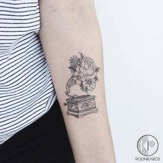 Floral Gramophone Tattoo by poonkaros tattoo 44 Fine Line Black and Grey Tattoos by Poonkaros Gramophone Tattoo, Rib Tattoos Words, Arm Quote Tattoos, Body Art Tattoos, Sleeve Tattoos, Tattoo Quotes, Music Tattoo Sleeves, Faith Tattoos, Music Tattoos