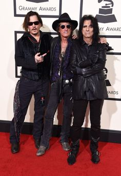 Johnny Depp, Joe Perry, and Alice Cooperat the 58th Grammy Awards at Staples Center in Los Angeles, California, on February 15, 2016.