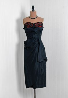 1950's Vintage Black Red Taffeta-Couture Sweetheart Shelf-Bust Strapless Peplum Hourglass Pencil-Wiggle Cocktail Dress