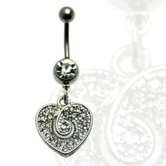 Multi Jewel Heart Twist Center Dangle Belly Ring Surgical Steel