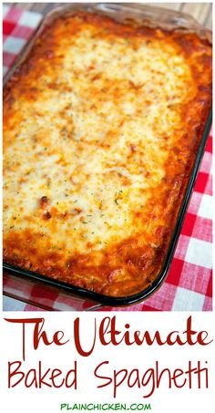 The Ultimate Baked Spaghetti - cheesy spaghetti topped with Italian seasoned cream cheese, meat sauce and mozzarella cheese - SOOOO good! Makes a great freezer meal too! We ate this two days in a row! recipes The Ultimate Baked Spaghetti Easy Casserole Recipes, Casserole Dishes, Pasta Bake Recipes, Rotini Pasta Recipes, Easy Potluck Recipes, Rigatoni Recipes, Pizza Casserole, Noodle Casserole, Supper Recipes
