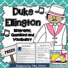 Duke Ellington Biography, questions for comprehension or text evidence, and vocabulary!  Perfect for Black History study and Free!!!!