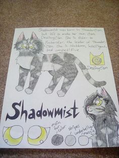Shadowmist of DestinyClan! She's my cat as a Warrior cat, and also a character in KeatonIsCool and my comic! Art by @sagecattt