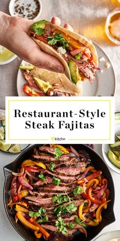 Here's How to Make the Best Restaurant-Style Steak Fajitas at Home Easy Restaurant Style Steak Fajitas. This recipe includes everything you need for a mexican restaurant experience! From the marinade or seasoning to cooking on the stove top. Chicken Fajita Rezept, Beef Fajita Recipe, Steak Fajita Marinade, Easy Steak Fajitas, Homemade Fajita Seasoning, Chicken Fajitas, Steak Tacos, Chipotle Chicken, Steak Restaurant Style