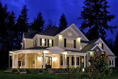 I like the look of it, but don't really need a formal living/dining area.  Farmhouse  House Plan 87608