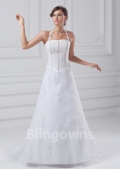 Halter Zipper Buttons Appliques Tulle Sweep White A-line Sleeveless Wedding Dresses