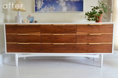 mid century credenza makeover...    http://www.designsponge.com/2011/12/before-after-mid-century-credenza-makeunder.html
