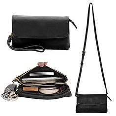 Small Crossbody Bag for Women Purse and Clutch with Removeable Wristlet strap and Shoulder Strap