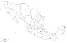 México : Mapa gratuito, mapa mudo gratuito, mapa en blanco gratuito, plantilla de mapa : contornos, estados, principales ciudades (blanco)