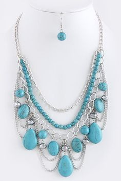 Statement necklace. Gor inspiration.  FAUX TURQUOISE CHAIN TIERED NECKLACE SET