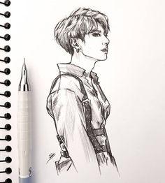 Fanart Bts, Jungkook Fanart, Bts Jungkook, Kpop Drawings, Art Drawings Sketches, Art Tumblr, Dibujos Cute, Bts Fans, Art Sketchbook