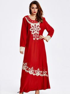 Sale 13% (39.69$) - Women Long Sleeve Embroidery Loose Long Maxi Dresses