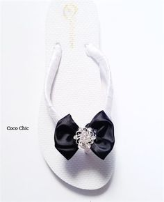 4f564fa4ae631 White and Black Bow with Crystal Wedding Flip Flops for Bride