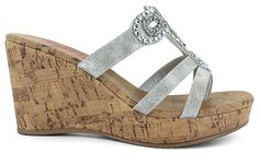 This Classic Wedge Features:<br/>synthetic upper, rhinestone and bead accents for sparkle, cushioned insole, easy slip-on wear with a thong construction, synthetic outsole, 3 1/2-inch synthetic cork wedge heel