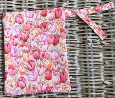 Tulip print drawstring storage bag  lined in co-ordinating