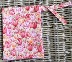 Tulip print drawstring storage bag  lined in by LittlePeaHandmade
