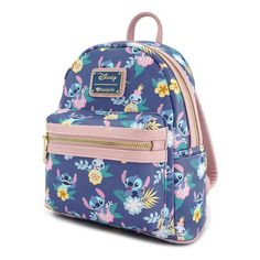 Loungefly x Disney Stitch & Scrump Floral Print Mini Faux Leather Backpack Disney Stitch, Lilo Y Stitch, Cute Mini Backpacks, Stylish Backpacks, Stitch Backpack, Backpack Purse, Pastel Backpack, Floral Backpack, Backpack Brands