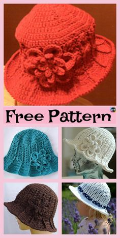 Crochet Beanie Ideas 10 Most Beautiful Crochet Sun Hat Free Patterns Crochet Hat With Brim, Crochet Adult Hat, Crochet Beanie Pattern, Crochet Cap, Free Crochet, Knitted Hats, Crochet Sun Hats, Crochet Summer, Baby Outfits