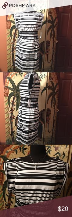 💋Cute Striped Dress💋 Size 10, NWT, elastic waist with back zipper closure, dress has 2 front pockets great dress for the spring Marvin Richards Dresses Midi