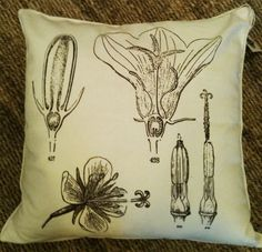I'm so nerdy, I know what these different flower parts are.... and I like that they are on a pillow!