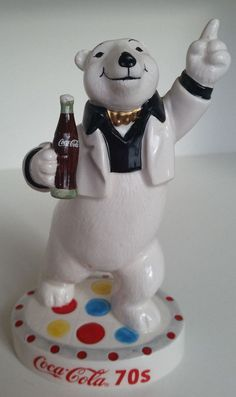 Coca Cola 70s Ceramic Polar Bear Disco Enesco Coke Figurine Decades in Figurines | eBay