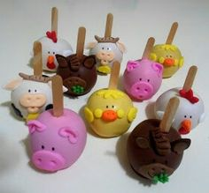 1 Birthday, Birthday Parties, Chocolate Covered Apples, Farm Party, Cake Pops, Candy, Desserts, Pink, Maria Clara