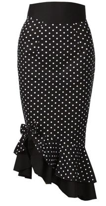 Asymmetric Black Polka Dot Pin-Up Skirt @ Modern Grease Clothing & Accessories Co. www.moderngrease.com