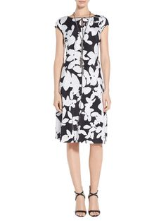 Contrast adds a wealth of visual interest to this fit & flare dress Cocktail Attire, Floral Fashion, Fit Flare Dress, Work Wear, Classic Style, Floral Prints, Dresses For Work, Black And White, Silk
