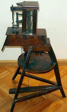 What is probably the most important sewing machine find this century has surfaced in South America. Actually the machine was discovered quite some years ago but its significance wasn't appreciated until early this year. Treadle Sewing Machines, Antique Sewing Machines, Sewing Table, Sewing Box, Sewing Machine Accessories, Vintage Sewing Notions, Sewing Baskets, Retro, Antiques