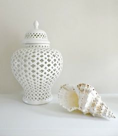 Temple Jar White by Hamptons Style Ceramic Jars, Decorated Jars, White Vases, Ginger Jars, Decorative Accessories, House Accessories, Online Gifts, Soft Furnishings, The Hamptons