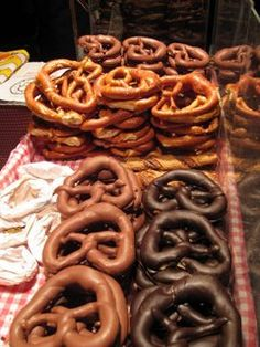 Chocolate covered pretzles at the Weihnachtsmarkt in Frankfurt