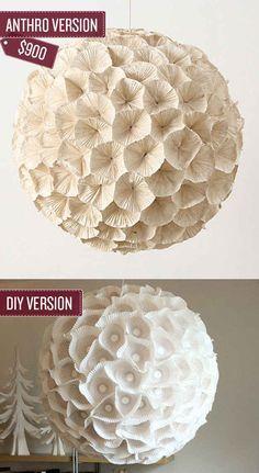 Build a sculptural paper orb chandelier. | 38 Anthropologie Hacks