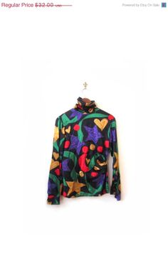 Vintage 90s Silk Superstar Hearts Abstract Blouse by LapineOursVintage, $18.00