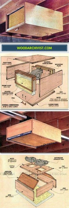 DIY Shop Air Cleaner - Dust Collection Tips, Jigs and Fixtures | WoodArchivist.com #woodworkingideas