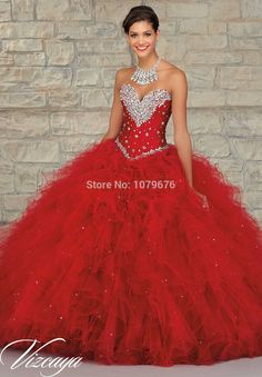 7531ffde09b Aliexpress.com   Buy Stunning Sparkly Beaded Crystal Prom Ball Gown Red Quinceanera  Dresses 2015