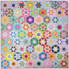 Ice Cream Soda Quilt - English Paper Pieced © Red Pepper Quilts 2021 Cream Soda, Ice Cream, Windham Fabrics, Quilts For Sale, Hexagon Quilt, English Paper Piecing, Practical Gifts, Quilt Bedding, Floral Fabric